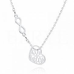 Naszyjnik celebrytka srebrna ażurowe serce ze znakiem nieskończoności
