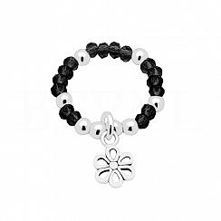 Pierścionek elastyczny kwiatek z kryształkami srebrny
