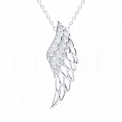 Zawieszka srebrna skrzydło anioła z białą cyrkonią