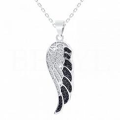 Zawieszka srebrna skrzydło z białą i czarną cyrkonią