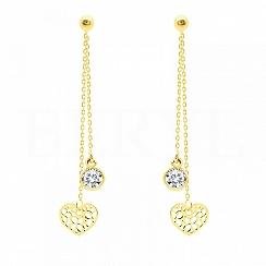 Kolczyki wiszące srebrne pozłacane łańcuszki z serduszkiem i cyrkonią