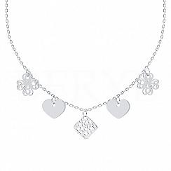 Choker na szyję srebrny z koniczynkami, sercami i ażurową blaszką
