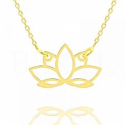 Naszyjnik celebrytka srebrna pozłacana z kwiatem lotosu