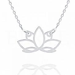 Naszyjnik celebrytka srebrna z kwiatem lotosu