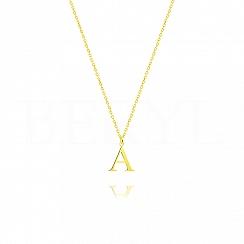 Naszyjnik z literką A srebrny pozłacany 1 cm