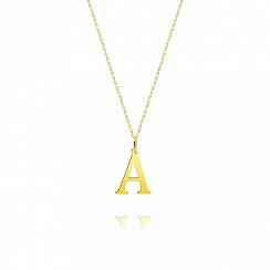 Naszyjnik złoty z literką A 2cm, łańcuszek ankier regulowany