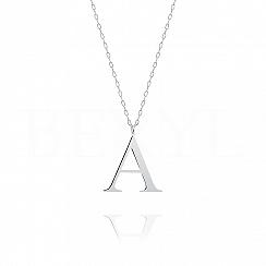 Naszyjnik z literką A srebrny 3 cm