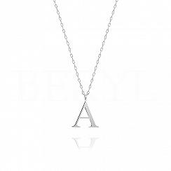 Naszyjnik z literką A srebrny 2 cm