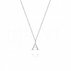 Naszyjnik z literką A srebrny 1 cm