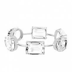 Bransoletka srebrna z dużymi naturalnymi białymi topazami