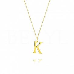 Naszyjnik złoty z literką K 2cm, łańcuszek ankier regulowany