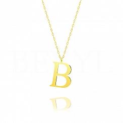 Naszyjnik z literką B srebrny pozłacany 3 cm