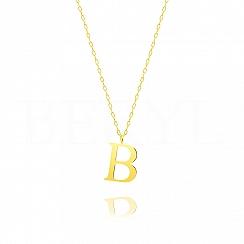 Naszyjnik z literką B srebrny pozłacany 2 cm