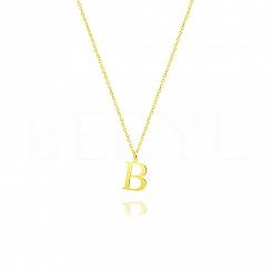 Naszyjnik z literką B srebrny pozłacany 1 cm