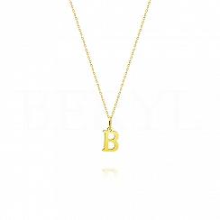 Naszyjnik złoty z literką B 1cm, łańcuszek ankier regulowany