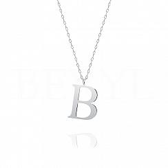 Naszyjnik z literką B srebrny 3 cm