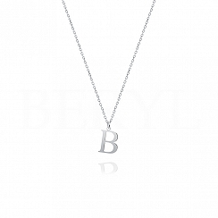 Naszyjnik z literką B srebrny 1 cm