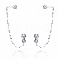 Nausznice z łańcuszkiem i białymi cyrkoniami srebrne