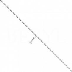 Bransoletka na nogę srebrna z literką I