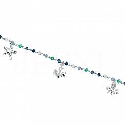 Bransoletka na nogę srebrna z kolorowymi kryształkami i zawieszkami
