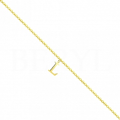 Bransoletka na nogę srebrna pozłacana z literką L