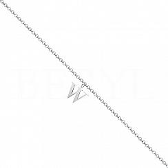 Bransoletka na nogę srebrna z literką W