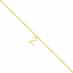 Bransoletka na nogę srebrna pozłacana z literką Z