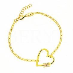 Bransoletka łańcuch srebrna pozłacana z dużym sercem i cyrkoniami