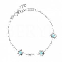 Bransoletka srebrna gładkie niebieskie kwiatuszki