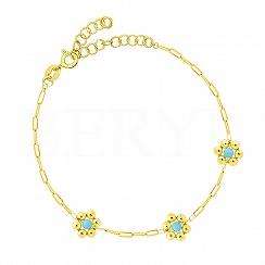 Bransoletka srebrna pozłacana gładkie niebieskie kwiatuszki