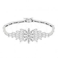 Bransoletka srebrna z białymi cyrkoniami elegancka