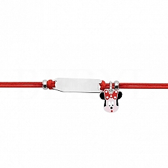 Bransoletka dla dzieci srebrna myszka minnie na czerwonym sznurku