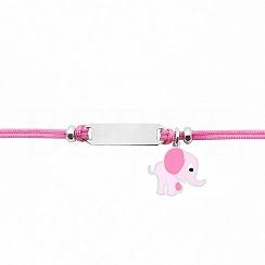 Bransoletka dla dzieci srebrna słonik na różowym sznurku