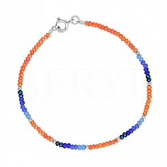Bransoletka srebrna z niebieskimi i pomarańczowymi kryształkami