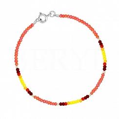 Bransoletka srebrna z pomarańczowymi i żółtymi kryształkami