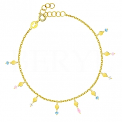 Bransoletka srebrna pozłacana z kółeczkami i kolorowymi kryształkami