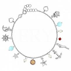 Bransoletka srebrna z letnimi zawieszkami i niebieskimi kryształkami