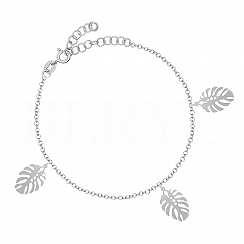 Bransoletka srebrna z kwiatkiem monstera