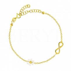 Bransoletka srebrna pozłacana z infinity i perełkami swarovskiego