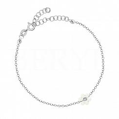 Bransoletka srebrna z białym kwiatuszkiem