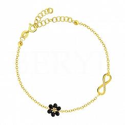 Bransoletka srebrna pozłacana z infinity i czarnym kwiatuszkiem