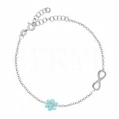 Bransoletka srebrna z infinity i niebieskim kwiatuszkiem