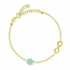 Bransoletka srebrna pozłacana z infinity i niebieskim kwiatuszkiem