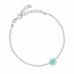 Bransoletka srebrna z niebieskim kwiatuszkiem