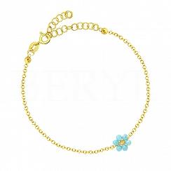 Bransoletka srebrna pozłacana z niebieskim kwiatuszkiem