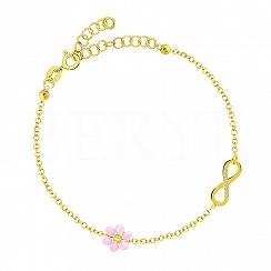 Bransoletka srebrna pozłacana z infinity i różowym kwiatuszkiem