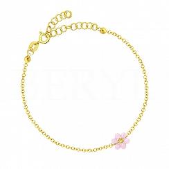 Bransoletka srebrna pozłacana z różowym kwiatuszkiem