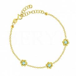 Bransoletka srebrna pozłacana z niebieskimi kwiatuszkami