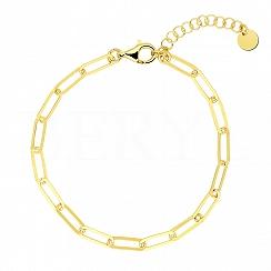 Bransoletka łańcuch srebrna pozłacana gładka