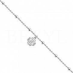 Bransoletka na nogę srebrna z koniczyną ażurową